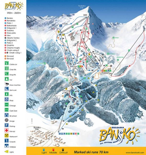 Карта на Банско и маршрути